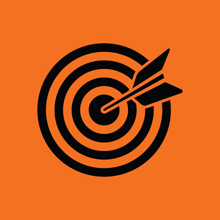 Target with dart in bulleye icon. Orange background with black. Vector illustration. Illustration