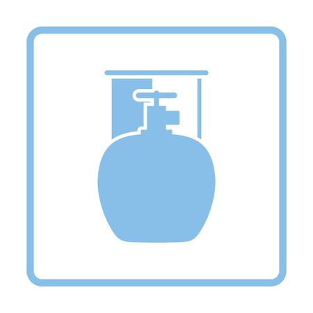 fillup: Camping gas container icon. Blue frame design. Vector illustration.