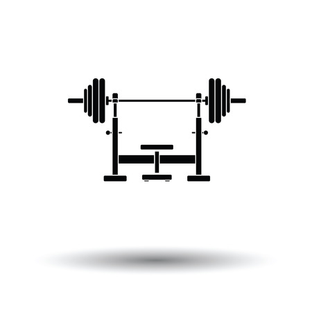 barbel: Bench with barbel icon. White background with shadow design. Vector illustration.