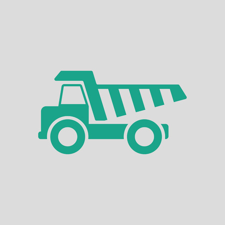 tipper: Icon of tipper. Gray background with green. Vector illustration. Illustration