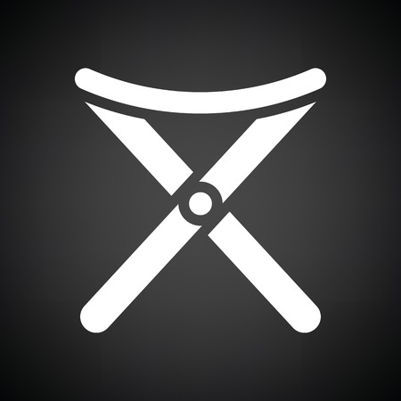 legged: Icon of Fishing folding chair. Black background with white. Vector illustration.