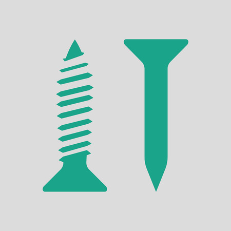 Icon of screw and nail. Gray background with green. Vector illustration. Illustration