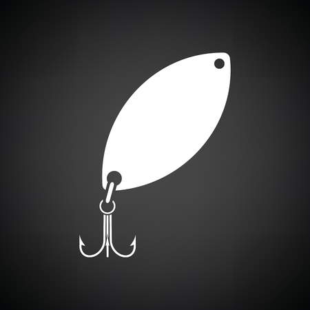 Icon of Fishing spoon. Black background with white. Vector illustration. Illustration