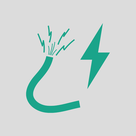 electricity providers: Icon of Wire . Gray background with green. Vector illustration. Illustration