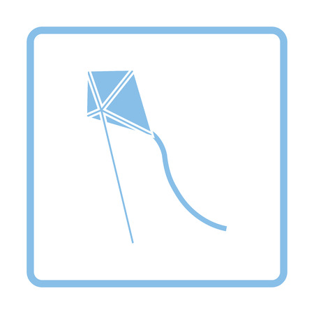lightness: Kite in sky icon. Blue frame design. Vector illustration.