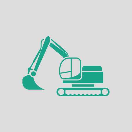 dredger: Icon of construction excavator. Gray background with green. Vector illustration. Illustration