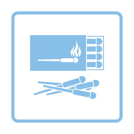 match box: Match box  icon. Blue frame design. Vector illustration.