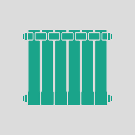 gas radiator: Icon of Radiator. Gray background with green. Vector illustration.