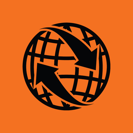 Globe with arrows icon. Orange background with black. Vector illustration.