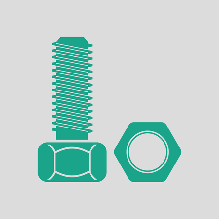 Icon of bolt and nut. Gray background with green. Vector illustration.