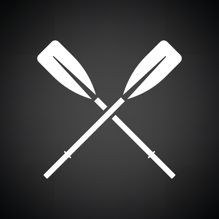 Icon of  boat oars. Black background with white. Vector illustration.
