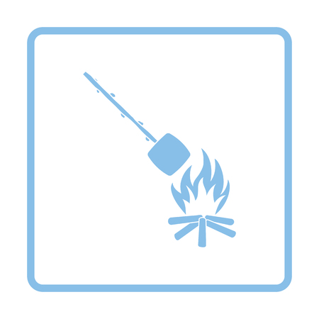 roasting: Camping fire with roasting marshmallow icon. Blue frame design. Vector illustration.