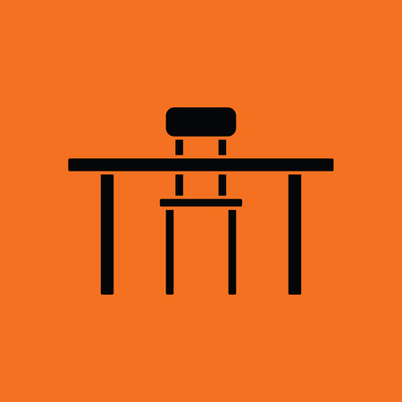 Table and chair icon. Orange background with black. Vector illustration.