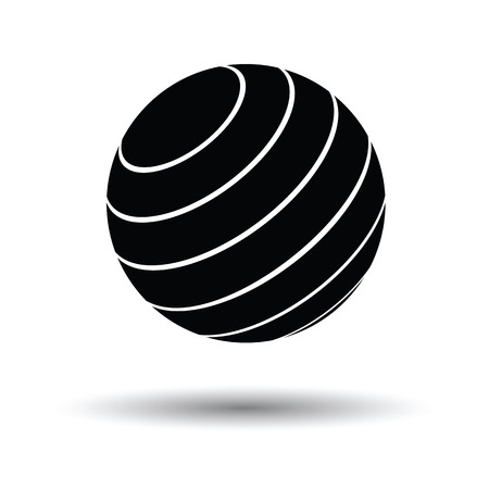 rubber ball: Fitness rubber ball icon. White background with shadow design. Vector illustration. Illustration