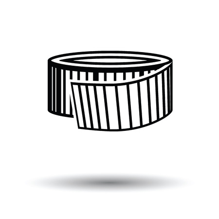Measure tape icon. White background with shadow design. Vector illustration.