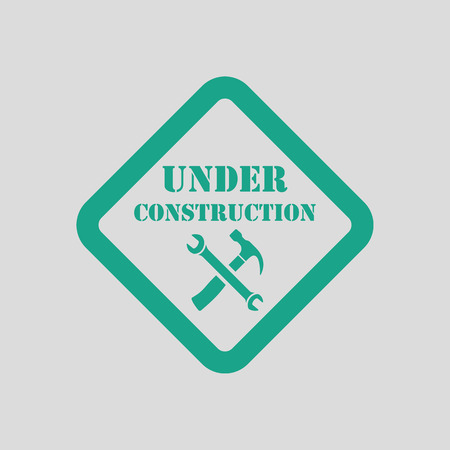 refit: Icon of Under construction. Gray background with green. Vector illustration.