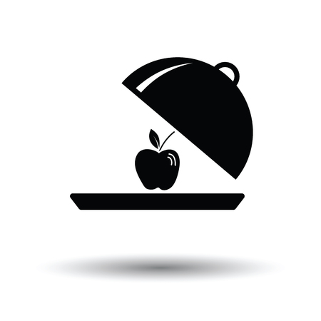 Apple inside cloche icon. White background with shadow design. Vector illustration. Illustration