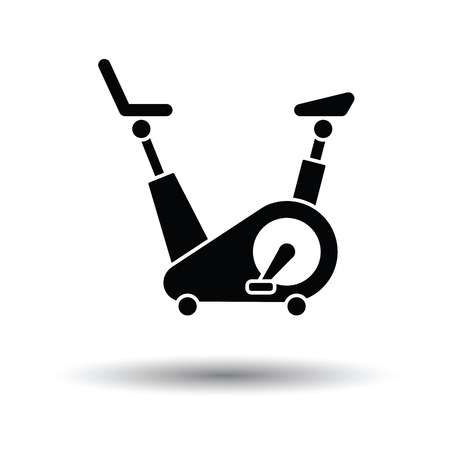 Exercise bicycle icon. White background with shadow design. Vector illustration.