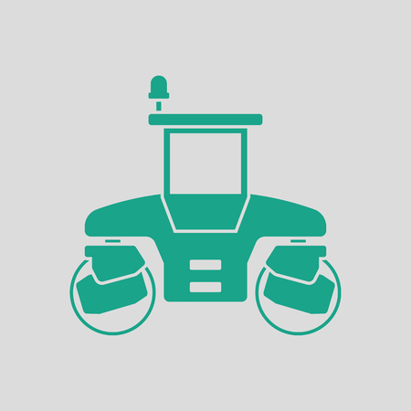 steamroller: Icon of road roller. Gray background with green. Vector illustration.