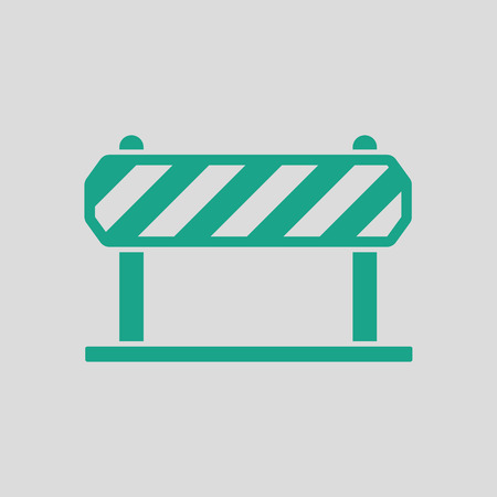 paling: Icon of construction fence. Gray background with green. Vector illustration.
