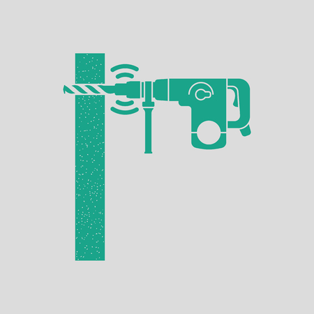 perforator: Icon of perforator drilling wall. Gray background with green. Vector illustration. Illustration