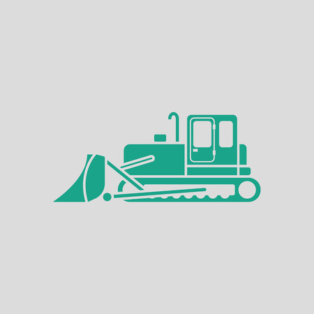 wheeled tractor: Icon of Construction bulldozer. Gray background with green. Vector illustration.