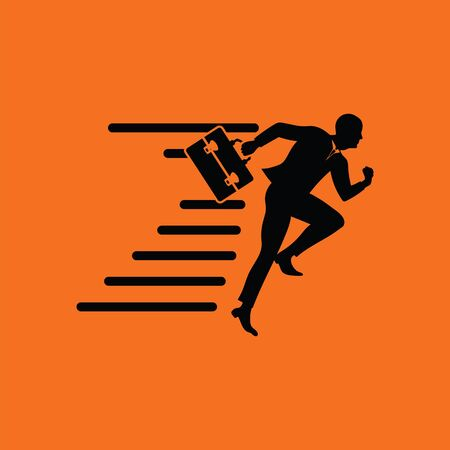 Accelerating businessman icon. Orange background with black. Vector illustration.