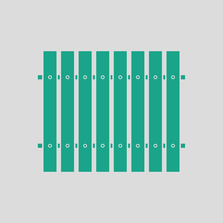 paling: Icon of Construction fence . Gray background with green. Vector illustration.