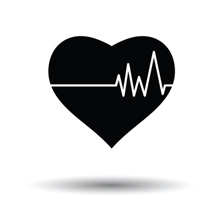 pulse: Heart with cardio diagram icon. White background with shadow design. Vector illustration. Illustration