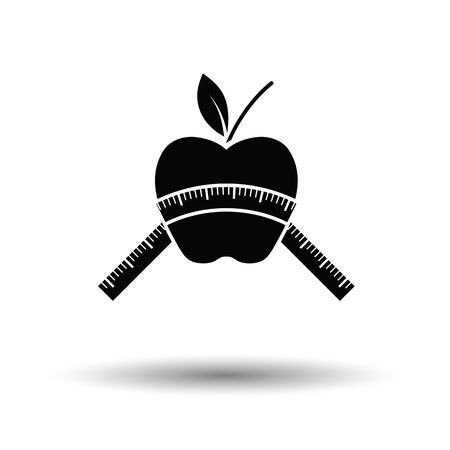 Apple with measure tape icon. White background with shadow design. Vector illustration.