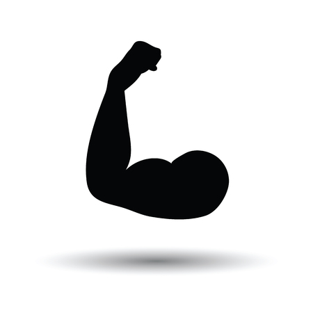 Bicep icon. White background with shadow design. Vector illustration.