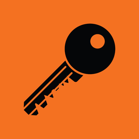 Key icon. Orange background with black. Vector illustration.