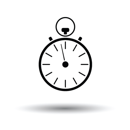 Stopwatch icon. White background with shadow design. Vector illustration.