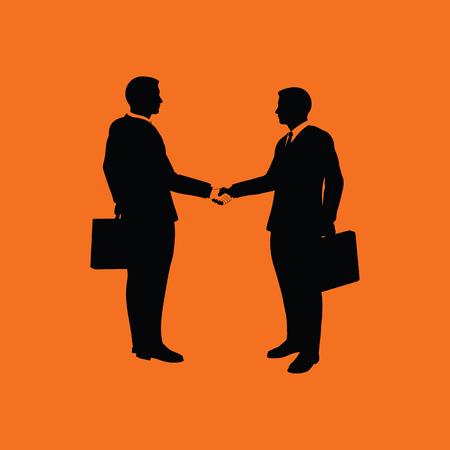 acknowledgment: Meeting businessmen icon. Orange background with black. Vector illustration.