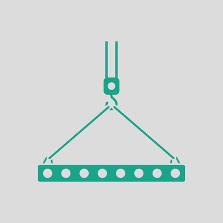 slings: Icon of slab hanged on crane hook by rope slings . Gray background with green. Vector illustration.