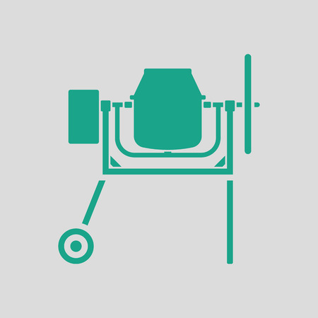 worksite: Icon of Concrete mixer. Gray background with green. Vector illustration.