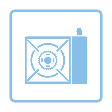 travel burner: Camping gas burner stove icon. Blue frame design. Vector illustration.
