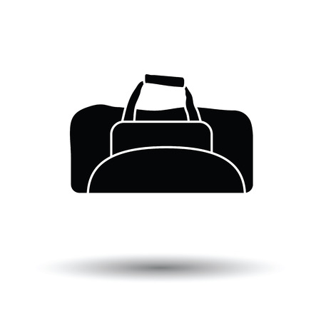 bag icon: Fitness bag icon. White background with shadow design. Vector illustration.