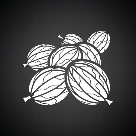 Gooseberry icon. Black background with white. Vector illustration.