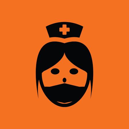 orderly: Nurse head icon. Orange background with black. Vector illustration. Illustration