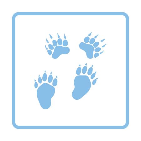 trails: Bear trails  icon. Blue frame design. Vector illustration.
