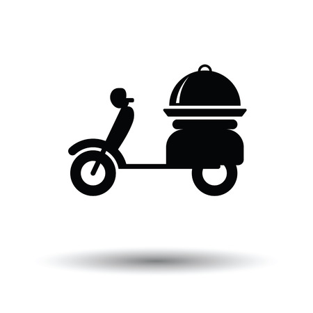 delivery icon: Delivering motorcycle icon. White background with shadow design. Vector illustration. Illustration