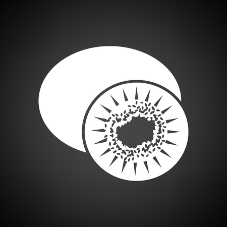 actinidia deliciosa: Kiwi icon. Black background with white. Vector illustration. Illustration