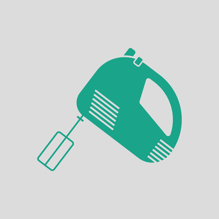 Kitchen hand mixer icon. Gray background with green. Vector illustration. Illustration