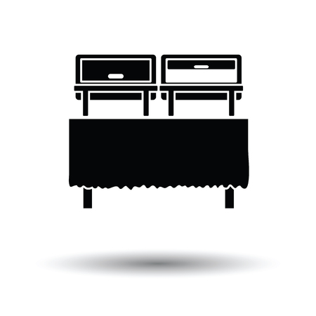 warmer: Chafing dish icon. White background with shadow design. Vector illustration.