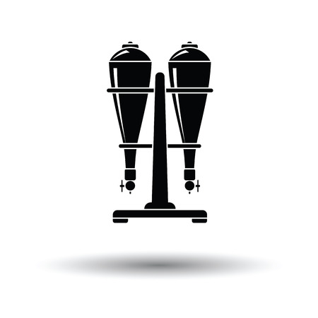 seltzer: Soda siphon equipment icon. White background with shadow design. Vector illustration.