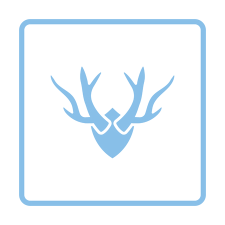 Deer's antlers icon. Blue frame design. Vector illustration.