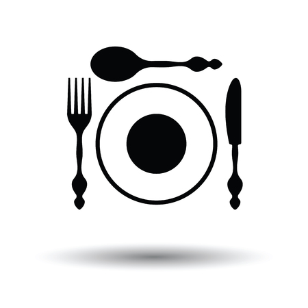 silverware: Silverware and plate icon . White background with shadow design. Vector illustration.