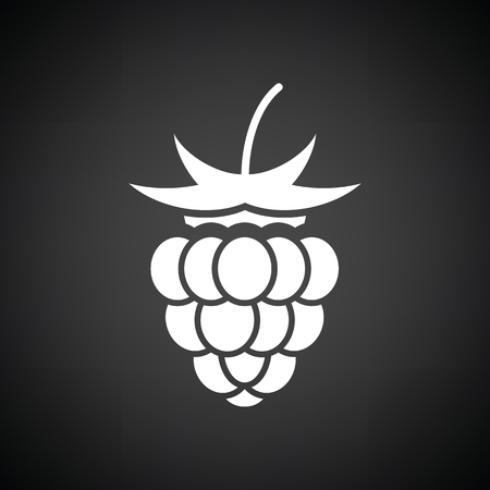 raspberries: Raspberry icon. Black background with white. Vector illustration. Illustration