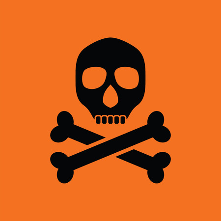 poison sign: Poison sign icon. Orange background with black. Vector illustration.